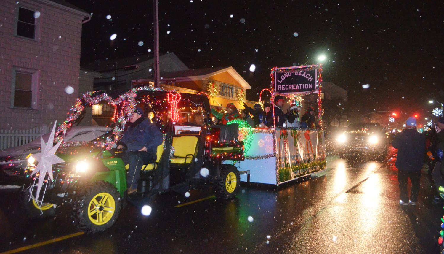 The Parks and Recreation Department showed off their festive float decked in holiday lights and banners.