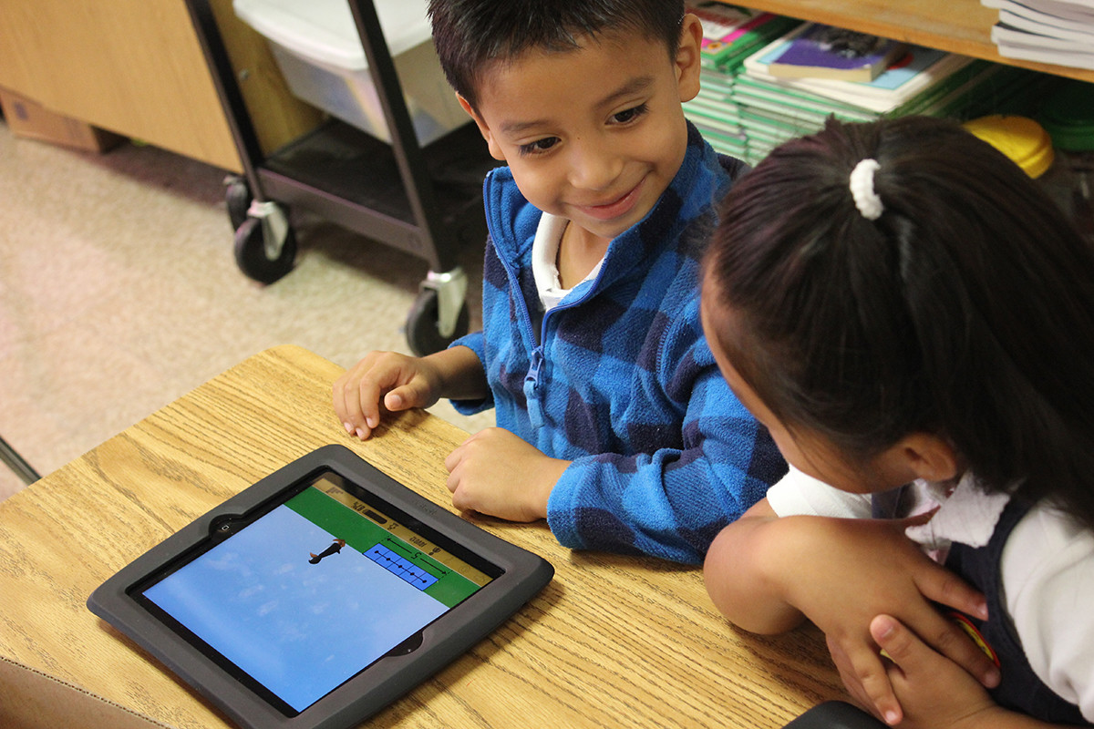 First- and second-grade students can use ST Math to determine how many blocks Jiji would have when she gets to the right side of a computer screen, after losing or gaining more blocks.