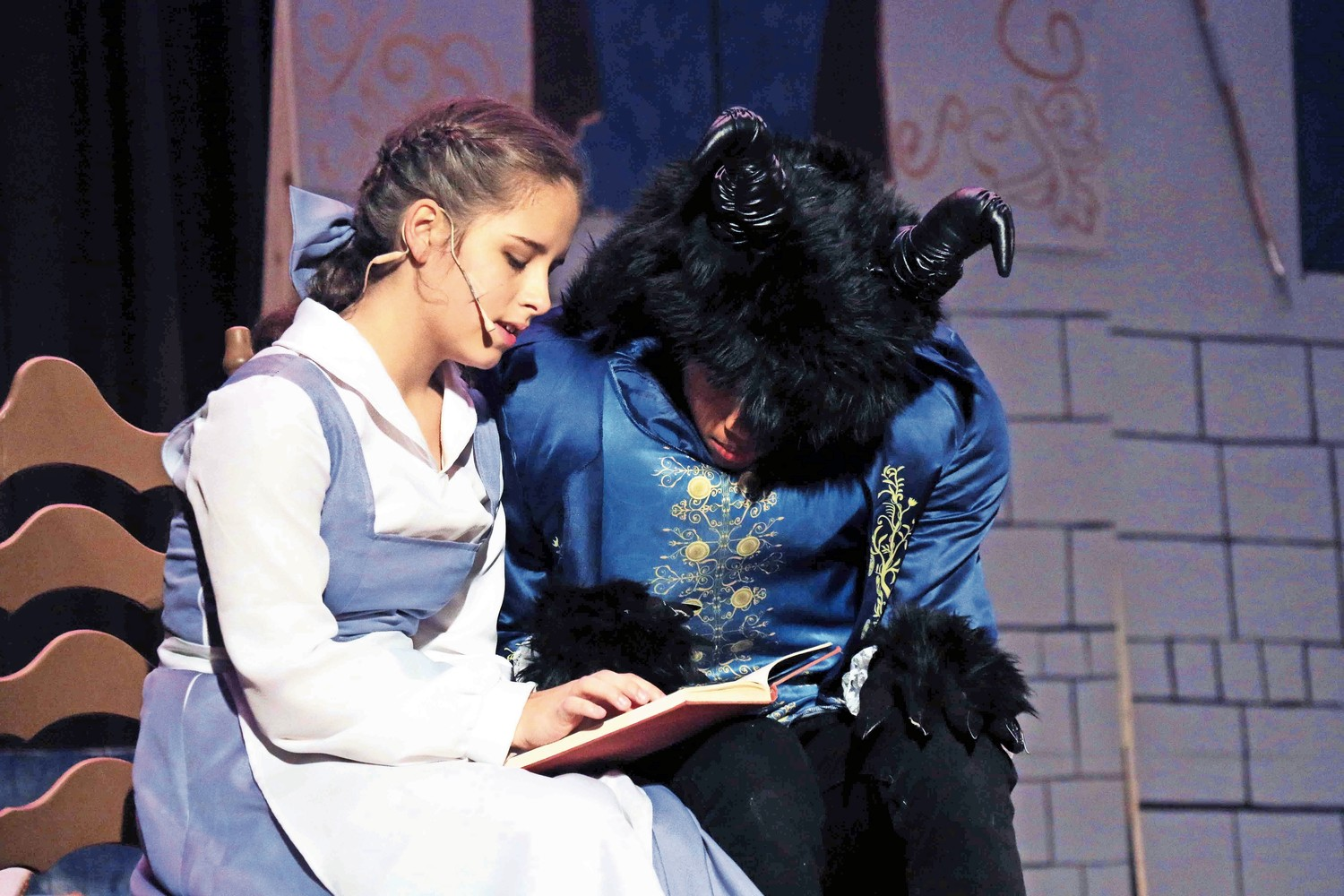 "West Hempstead Middle School eighth-graders Sofia Varone, left, and Jonathan Obando performed as Belle and the Beast for the drama club's production of ""Beauty and the Beast Jr."""