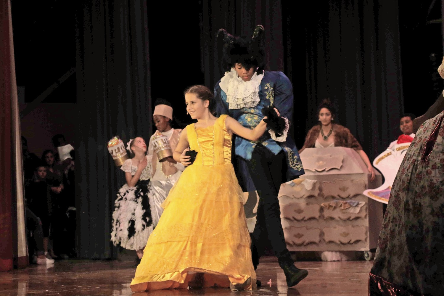 Belle and the Beast shared a dance on stage.