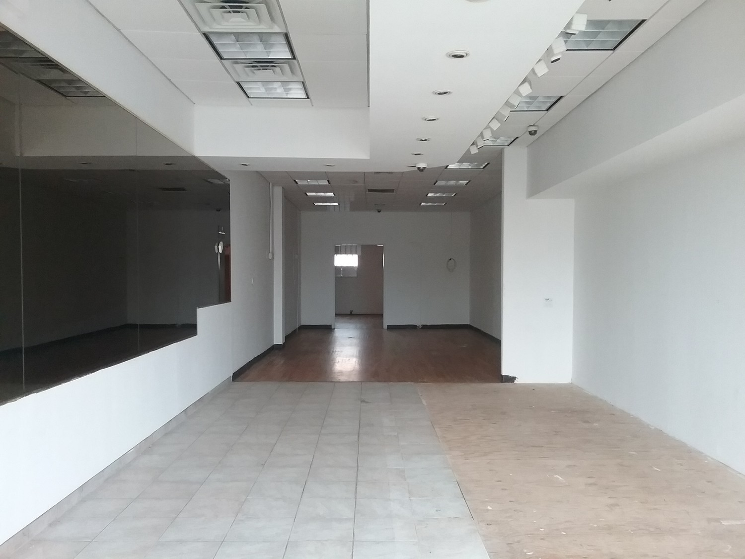 Inside the shopping center's smaller vacant properties.