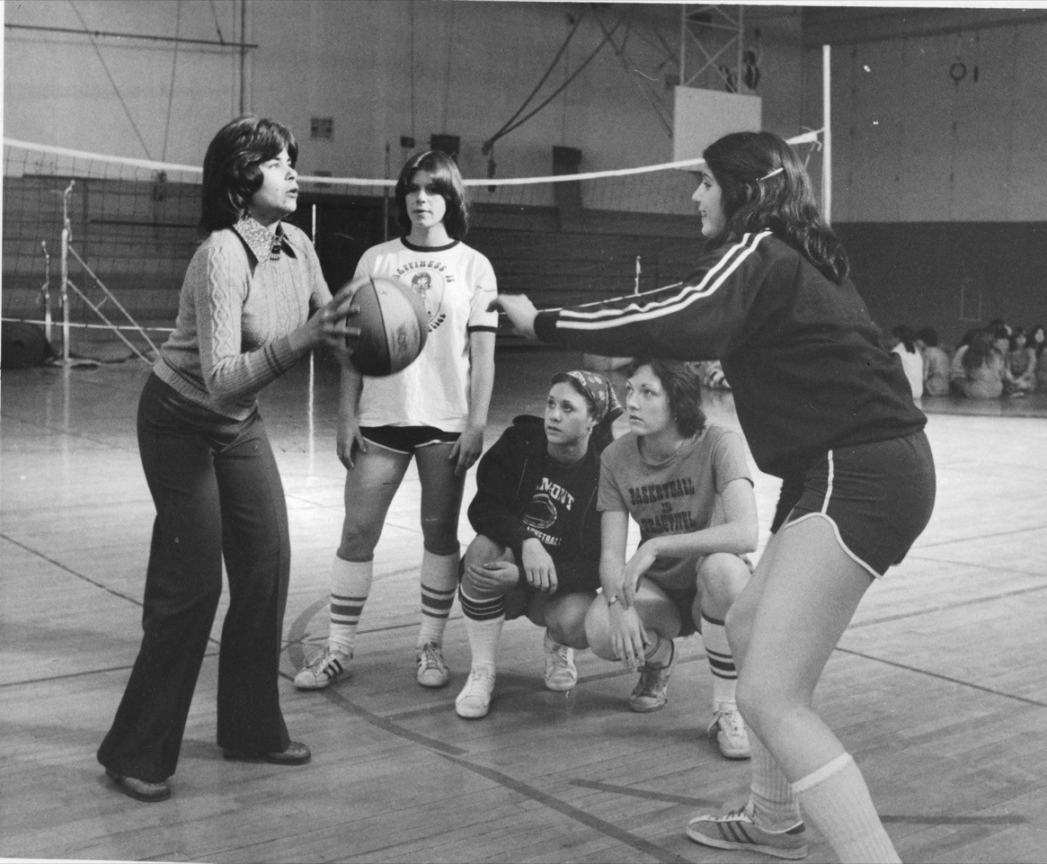 Commander, left, circa 1976, running drills with the Elmont High School girls' basketball team. She led the squad to a county championship 10 years later.
