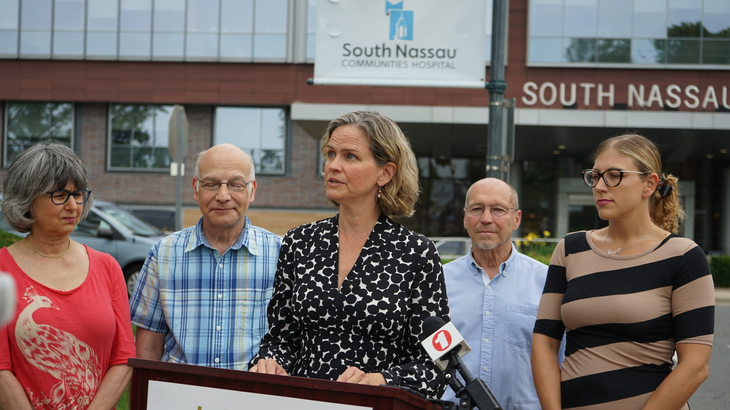 Laura Curran spoke at a news conference at South Nassau Communities Hospital in Oceanside.