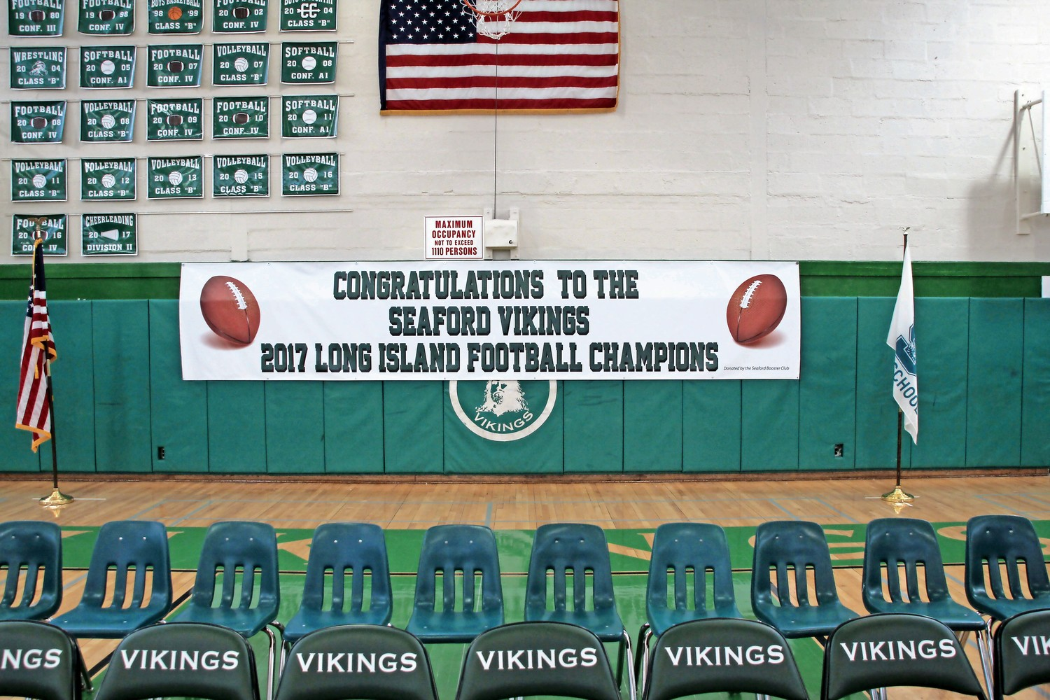 School officials hung a banner in honor of the team's historic win.
