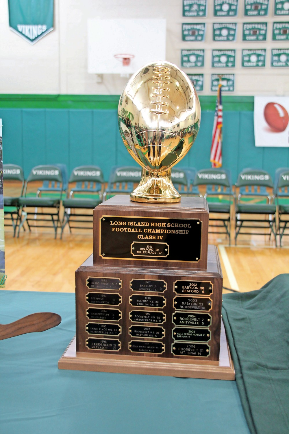 The Seaford High School football team brought home some hardware after winning the Conference IV Long Island title.