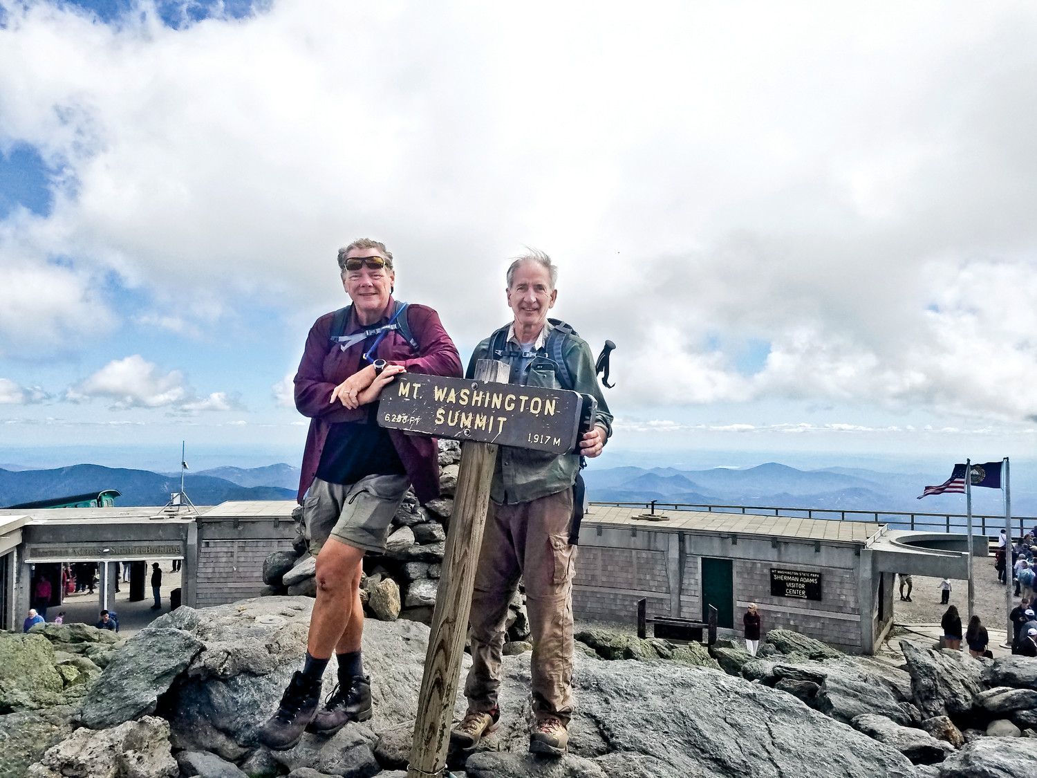 John Fellin, left, and his good friend Lee Hymowitz. Fellin has been scaling mountains to raise money for leukemia research, and is due to climb 