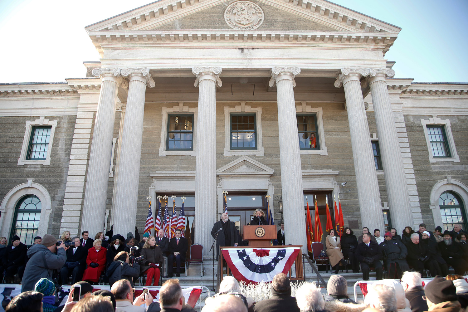 Curran made her first address as county executive before a crowd of hundreds of onlookers, who braved below-freezing temperatures to be a part of the ceremony.
