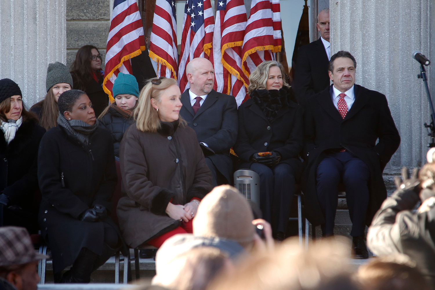 Cuomo, right, administered the oath of office to Curran, who was joined by her family on the steps of the Theodore Roosevelt Executive and Legislative Building in Mineola.