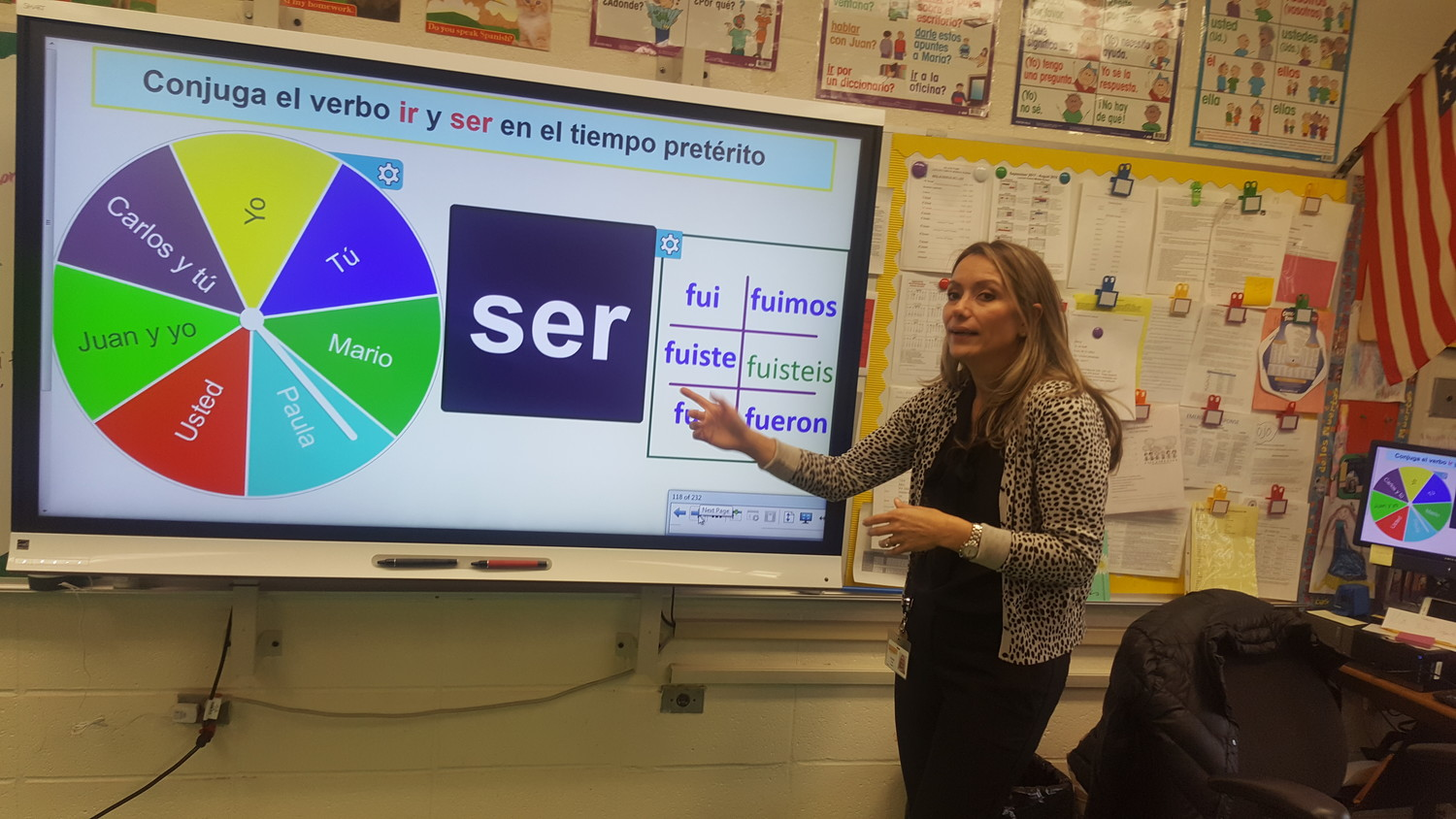 Irelanda Feil, the Spanish teacher at Lincoln Orens Middle School in Island Park, has an electronic blackboard that displays different ways of conjugating verbs.