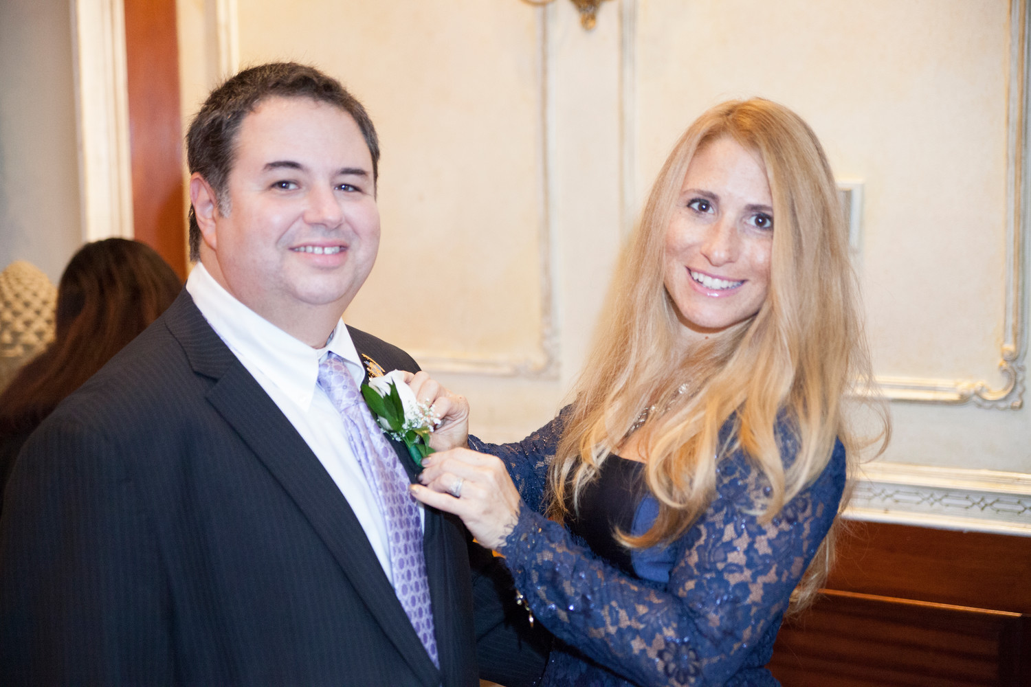 Ross Schiller celebrated with his wife, Melody, after being sworn in as the East Meadow Kiwanis Club president last year.