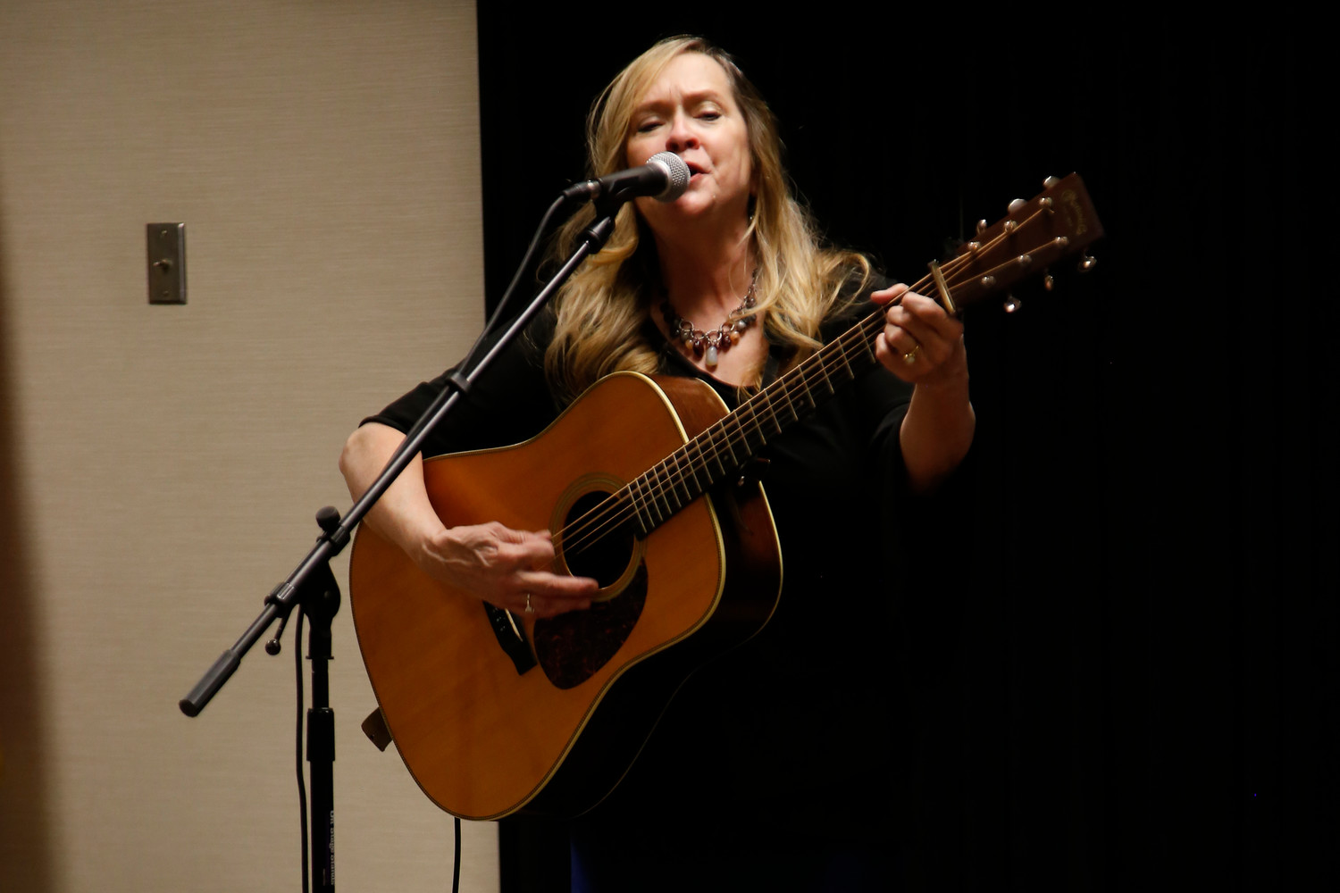 Kathy DeVine, of Buddy Merriam & Back Roads, played the guitar during a performance at the East Meadow Public Library.
