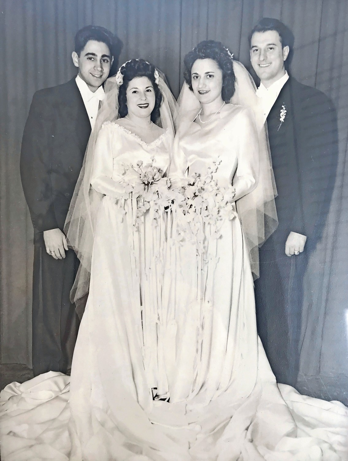 Johanna and Joseph Lucca, left, were married on Jan. 4, 1948, in a joint wedding with Joseph's twin sister, Ann, and her husband, Joe LaGrotta.