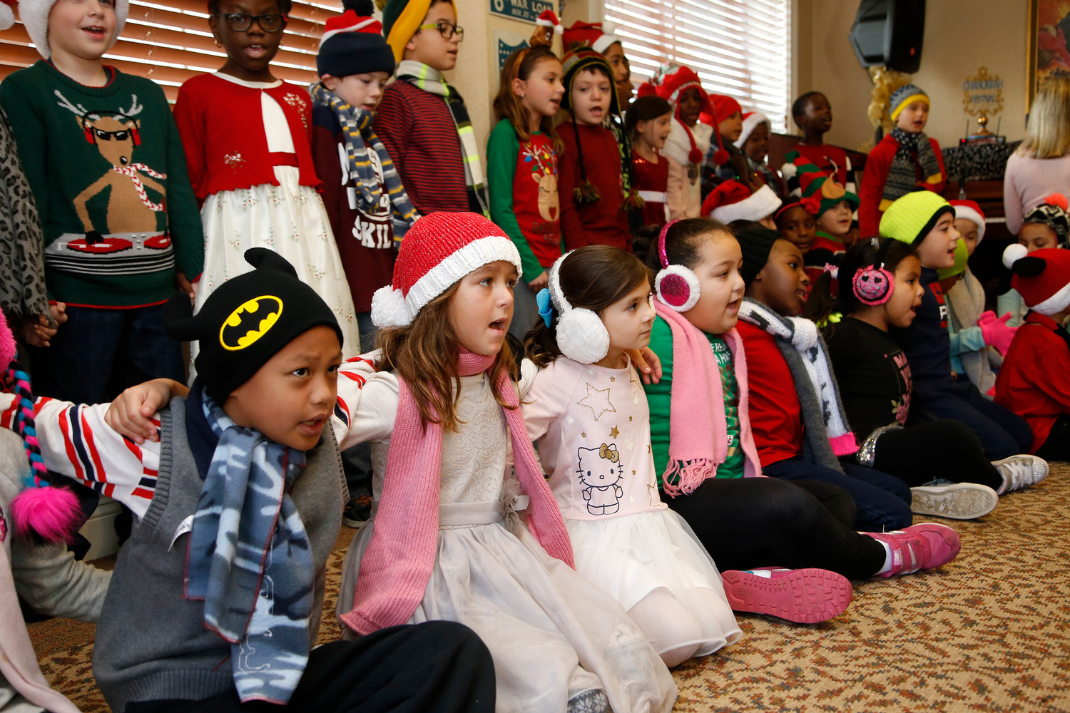 "Second graders from the Buck School in Valley Stream performed ""All You Need is Love to Sing"" for residents at the Atria Tanglewood Assisted Living facility in Lynbrook."