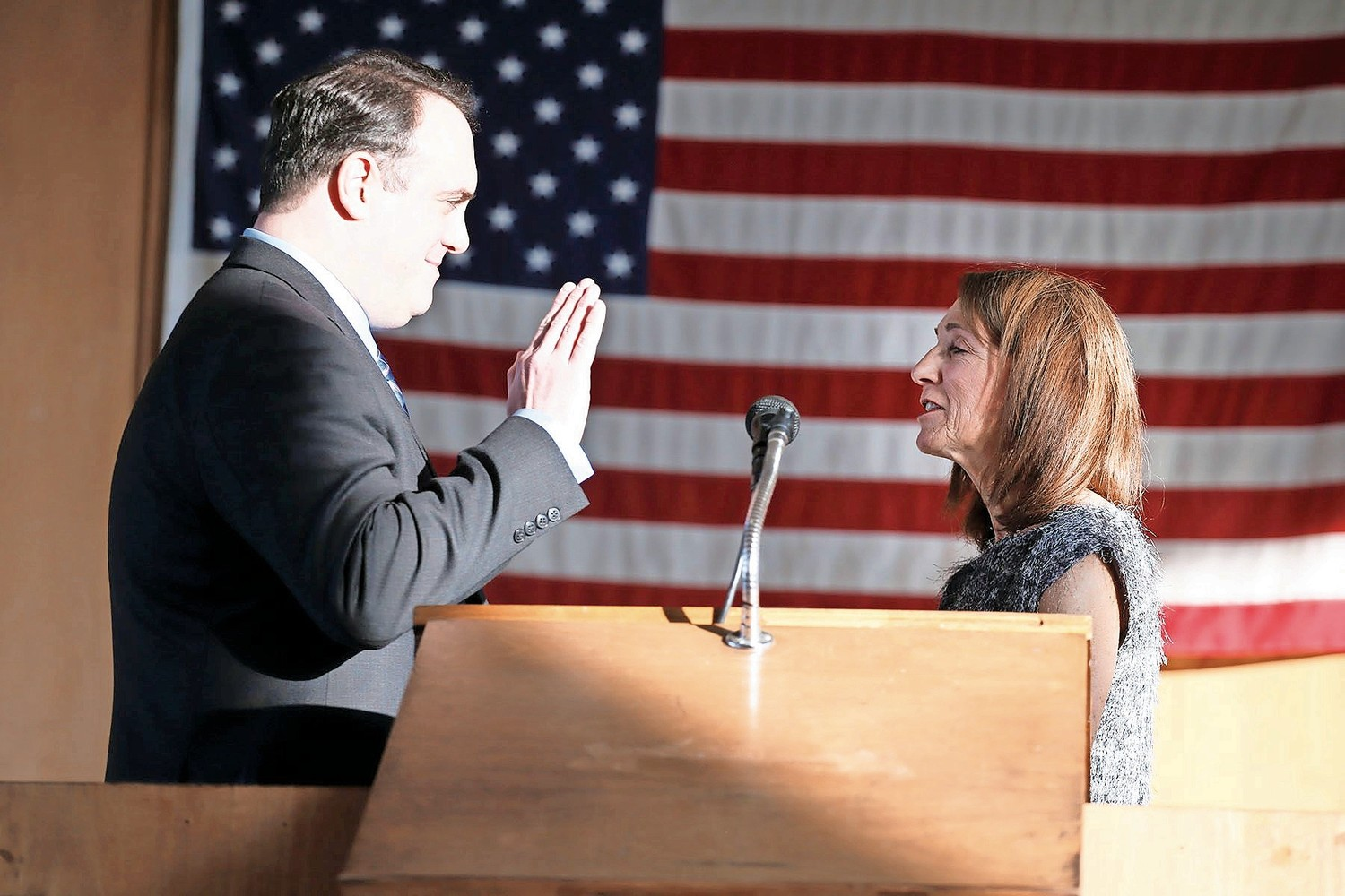 City Councilman Scott Mandel took the oath of office with former Councilwoman Fran Adelson.