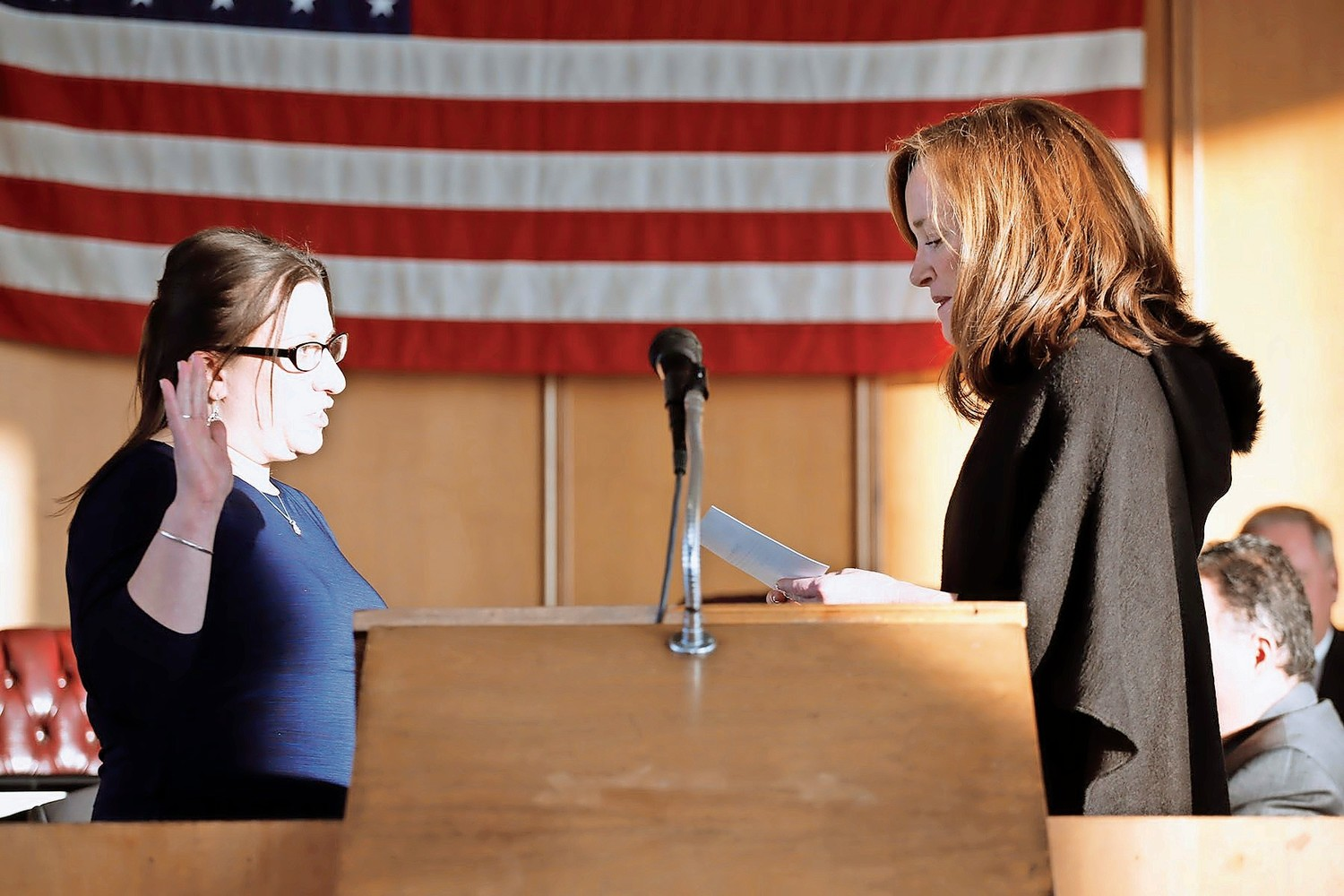 Councilwoman Chumi Diamond, left, was sworn in by U.S. Rep. Kathleen Rice, and was voted council vice president after the ceremony by a 4-1 vote.
