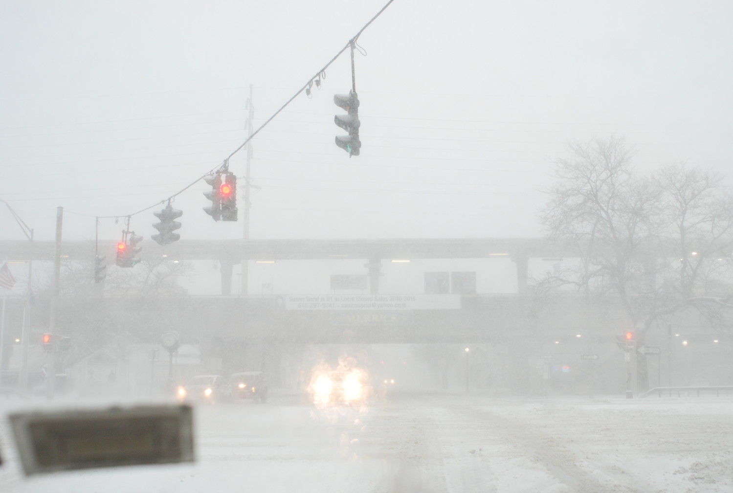Visibility was poor at the corner of Merrick Avenue and Sunrise Highway in Merrick.