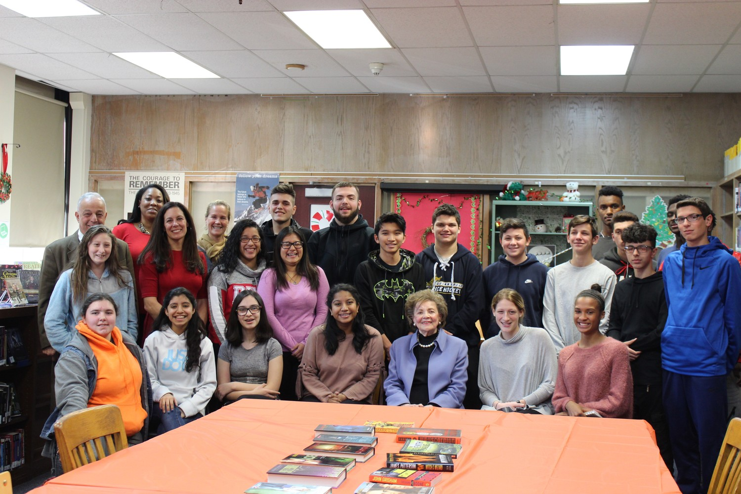 Matilda Cuomo, front, third from right, visited East Rockaway Junior-Senior High School on Dec. 13 to speak with participants in the school's new mentor program.