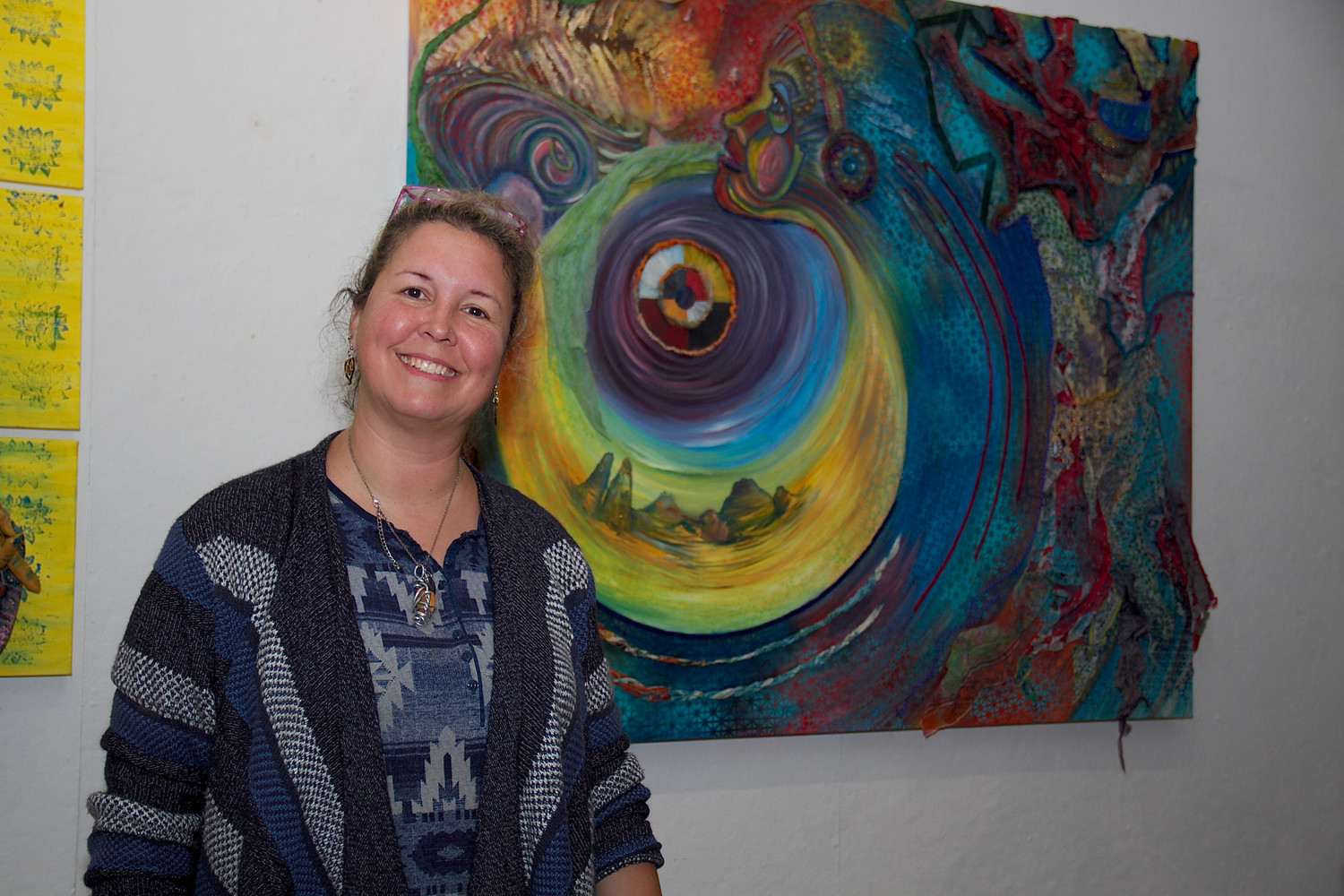 "Artist Sharon Papp with her piece ""Inspirited Introspection,"" which