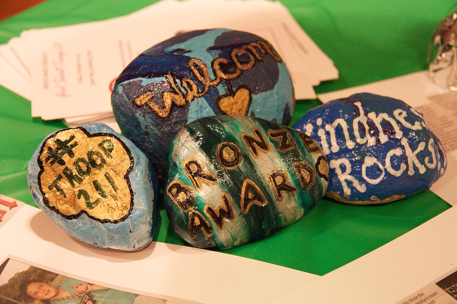 The scouts created kindness rocks.
