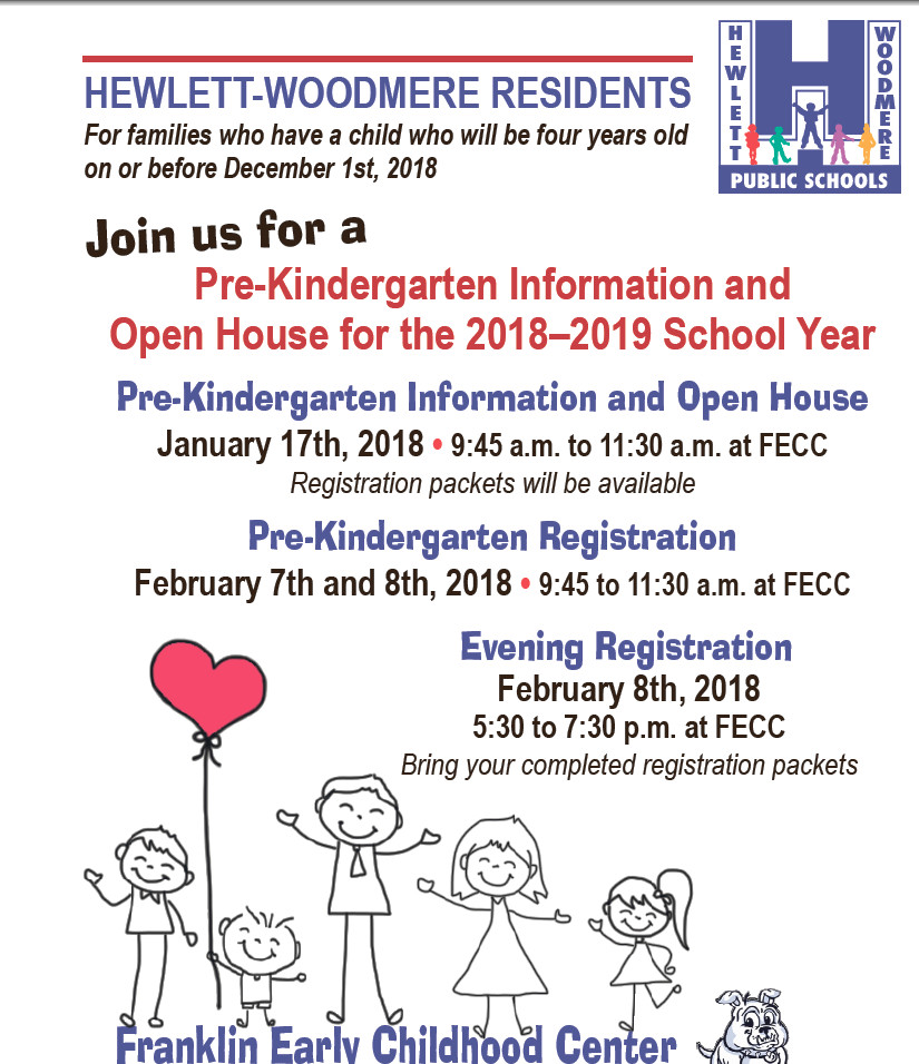 The Hewlett-Woodmere School District is holding Pre-kindergarten registration beginning Jan. 17.
