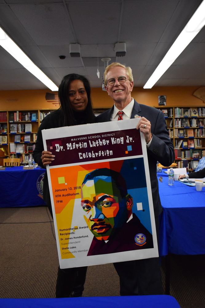 Malverne High School PTA President Sheila Lake and Superintendent Dr. James Hunderfund will receive the district's annual Dr. Martin Luther King Jr. Humanitarian Award on Friday.