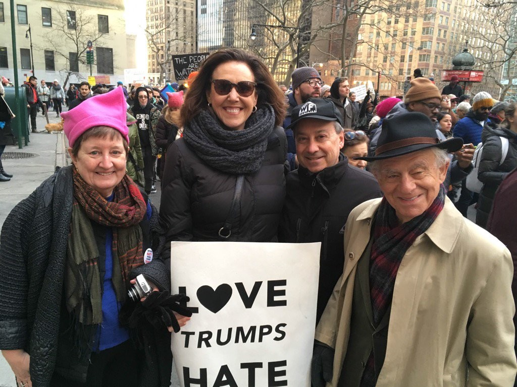 Liberal political pundit and Oceanside native Joan Walsh, center, at the Women's March in New York City last January. She spoke to the Herald about growing up on the Island and how the current political climate could affect local residents.