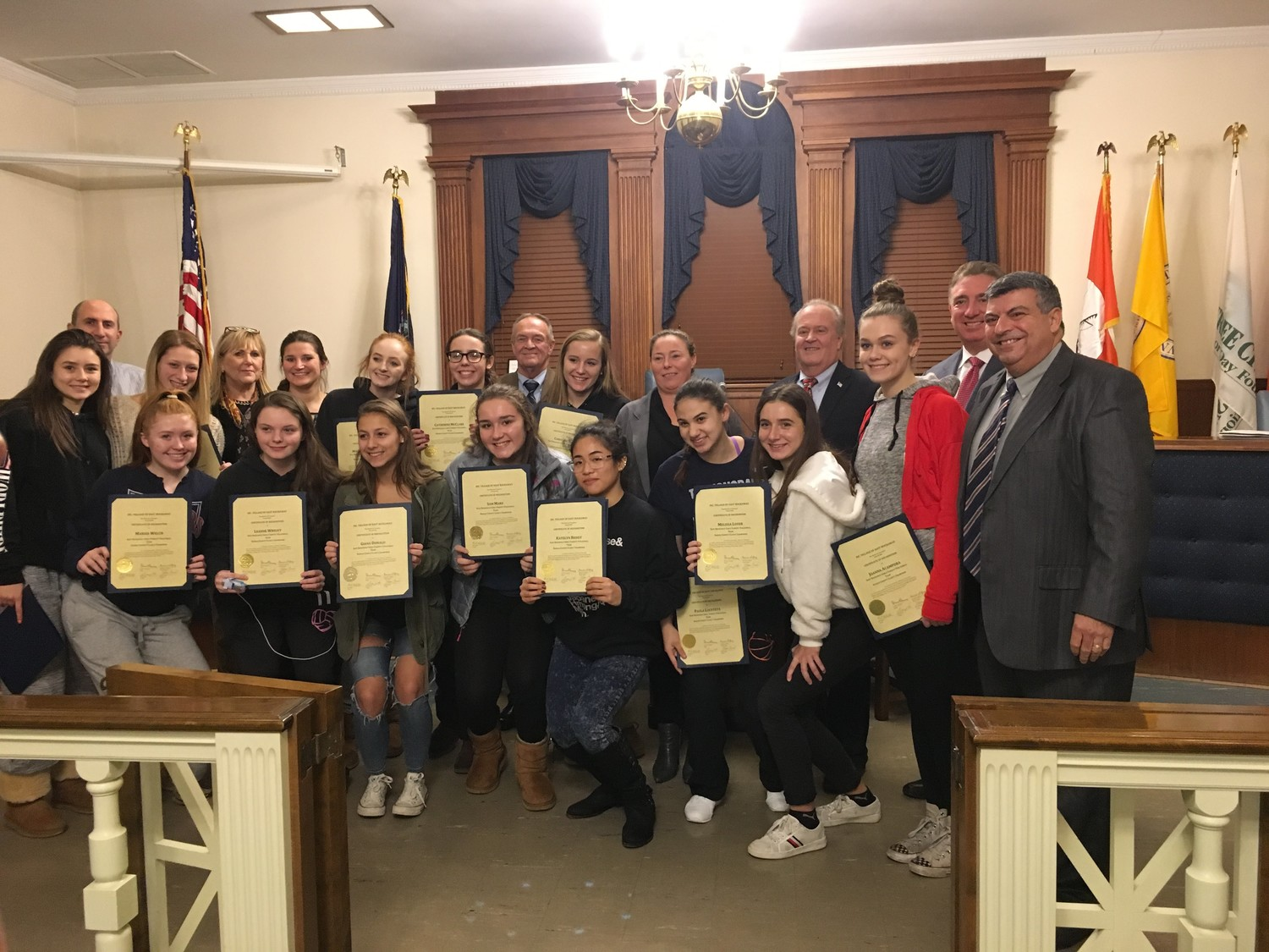 Members of the East Rockaway girls' varsity volleyball team were honored at the East Rockaway board of trustees meeting last month.