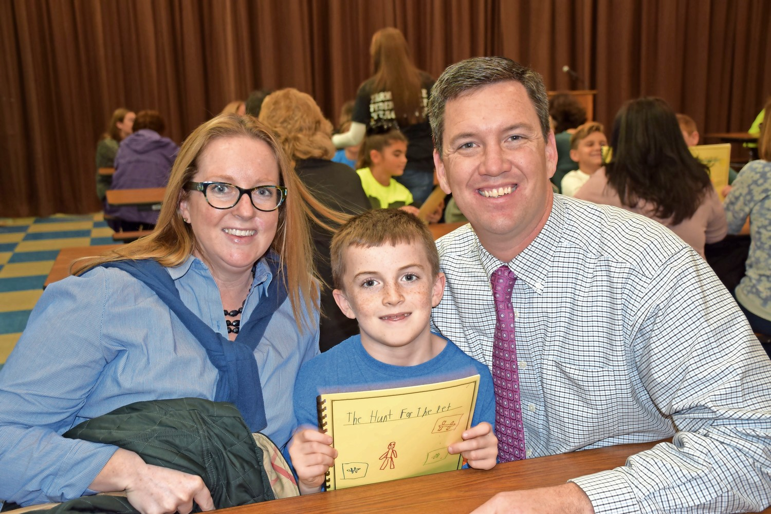 Mandalay Elementary School student Jack McDermott shared his narrative writing piece with parents Aly and Kevin McDermott during the third-grade Personal Narrative Celebration.