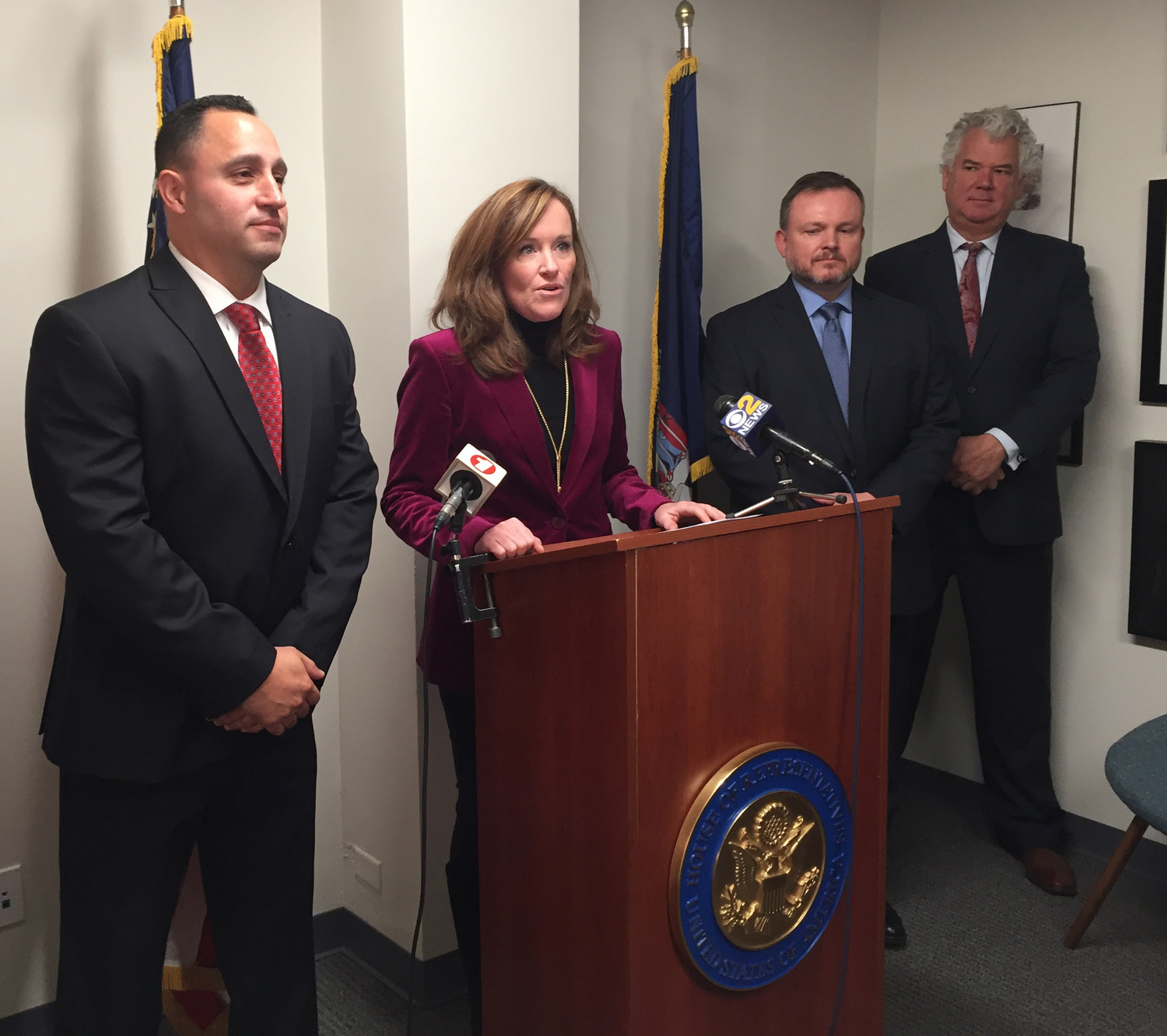 Representative Kathleen Rice retold the story of O'Brien's rescue of a New York firefighter on Staten Island.