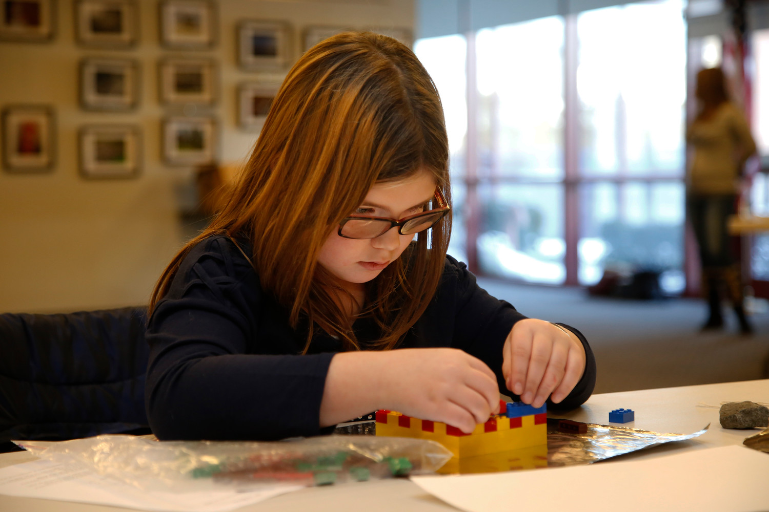 4th grader Julia Gallo works on her Lego project.