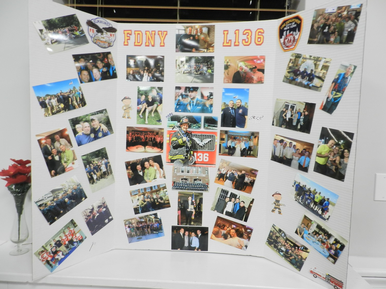 Photo boards were created in memory of  Hallquest, depicting his life.