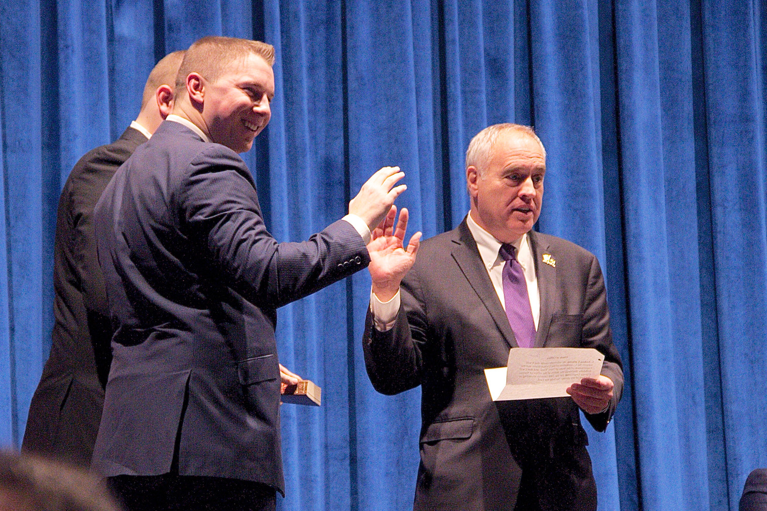 State Comptroller Thomas DiNapoli, right, swore in Josh Lafazan at a special inauguration ceremony on Tuesday.