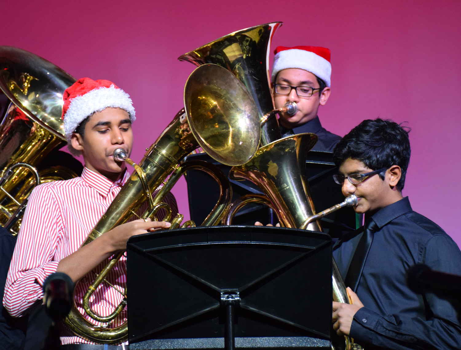 Members of the East Meadow and W.T. Clarke High School's tuba holiday ensemble performed holiday classics during the East Meadow Board of Education meeting on Dec. 21.