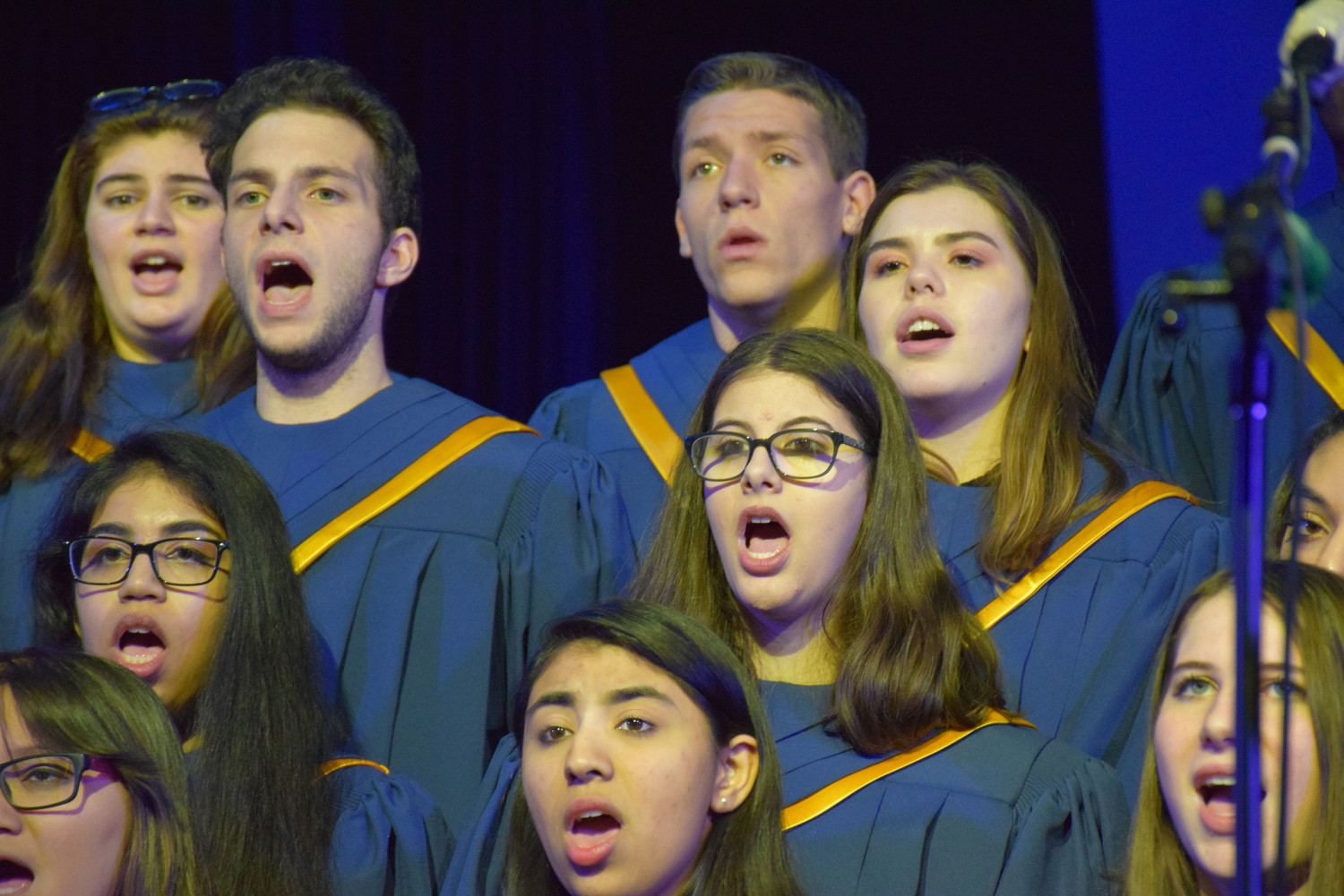 The East Meadow High School chamber choir serenaded the audience at the board of education meeting on Dec. 21.