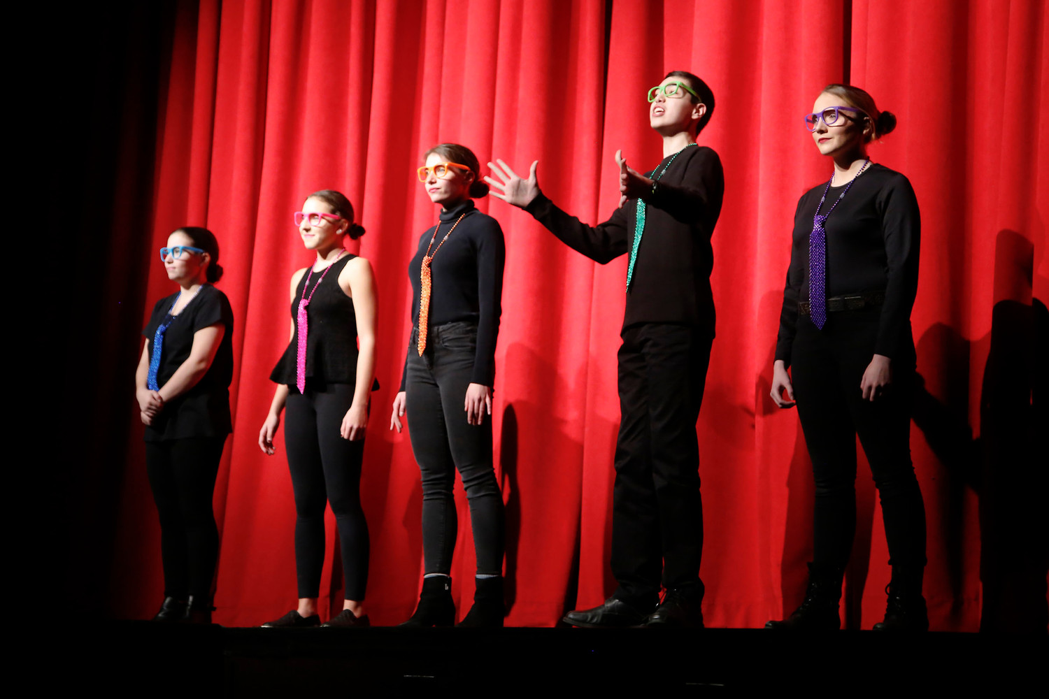 "Lila Naccari, left, Skylar Deluca, Tara Nass, Anthony Giangregorio and Megan Fennessy performed in ""How to Succeed in High School Without Really Trying."""