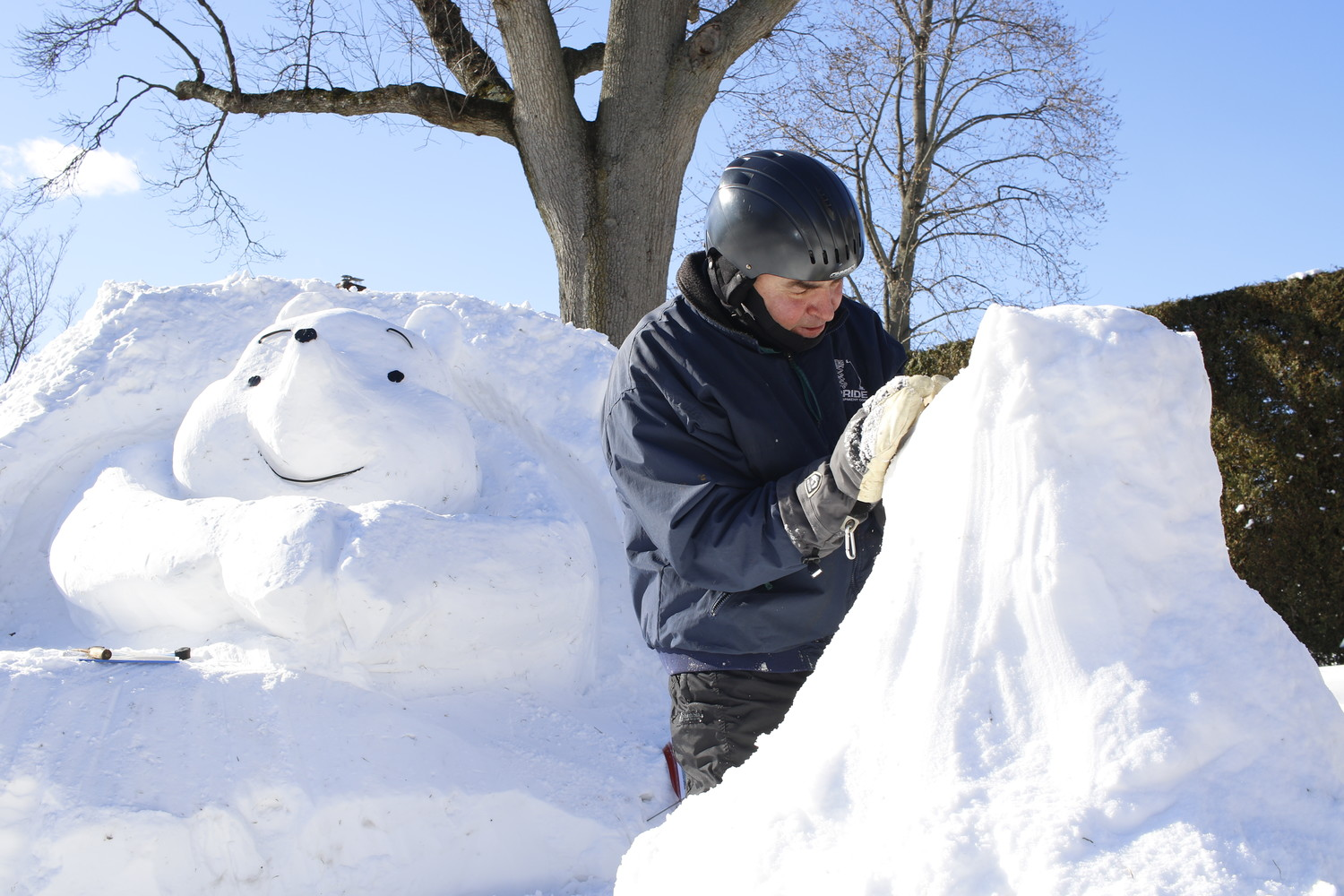 "Marty Bevilacqua, a 30-year resident of Rockville Centre, sculpted a scene from ""Winnie the Pooh"" on Jan. 5, a day after piling up snow from the year's first major winter storm."