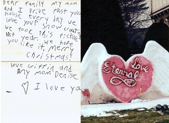 A card Bevilacqua received from a little girl in the village showed his art's impact on the community.