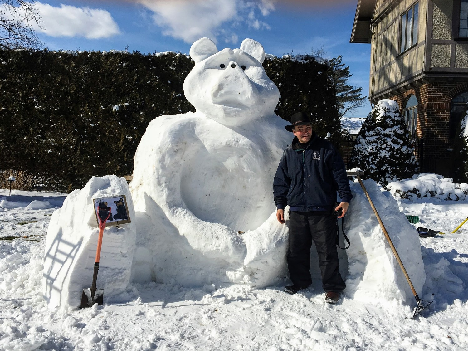 Bevilacqua previously sculpted a teddy bear to remember his late son, Mark, who loved bears. The masterpiece was a hit in the community.