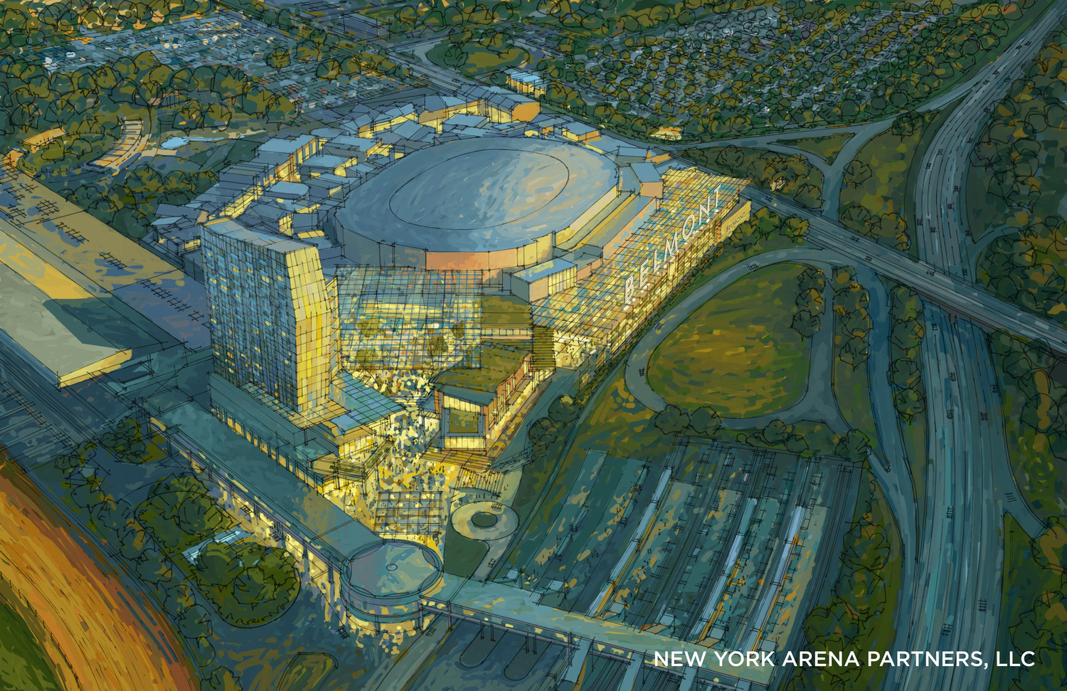 An Artist's rendition of proposed Islanders stadium.