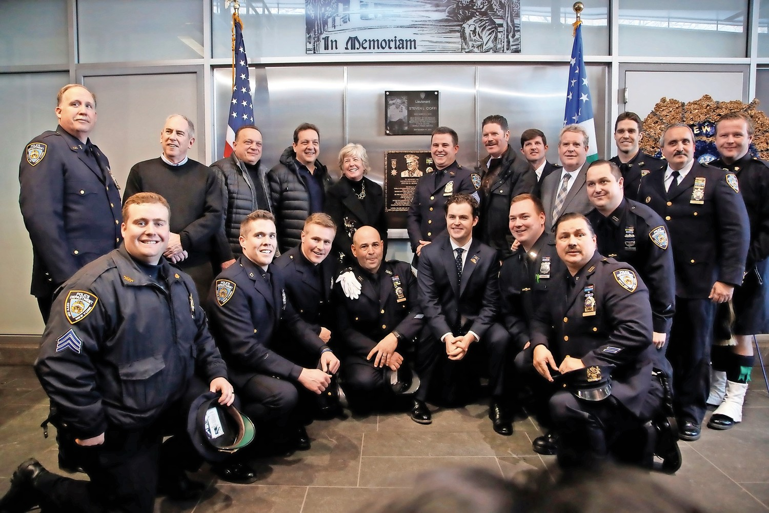Malverne Mayor Patti Ann McDonald and NYPD Sergeant Conor McDonald, along with several NYPD officers, attended a plaque unveiling for NYPD Detective Steven McDonald.