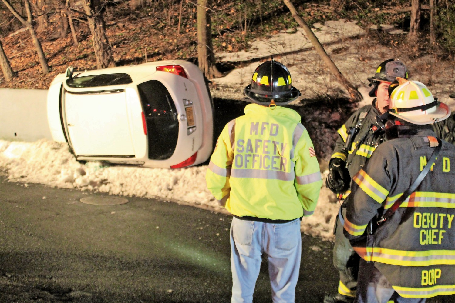 Firefighters from the Malverne Fire Department responded to an overturned vehicle on Dogwood Avenue in West Hempstead last Thursday.