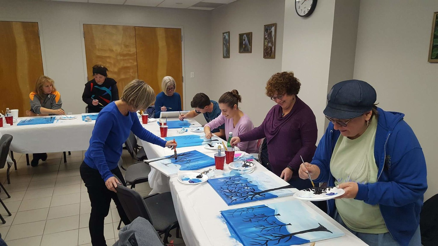 At Oceanside's Paint Night in December, library patrons designed winter scenes.