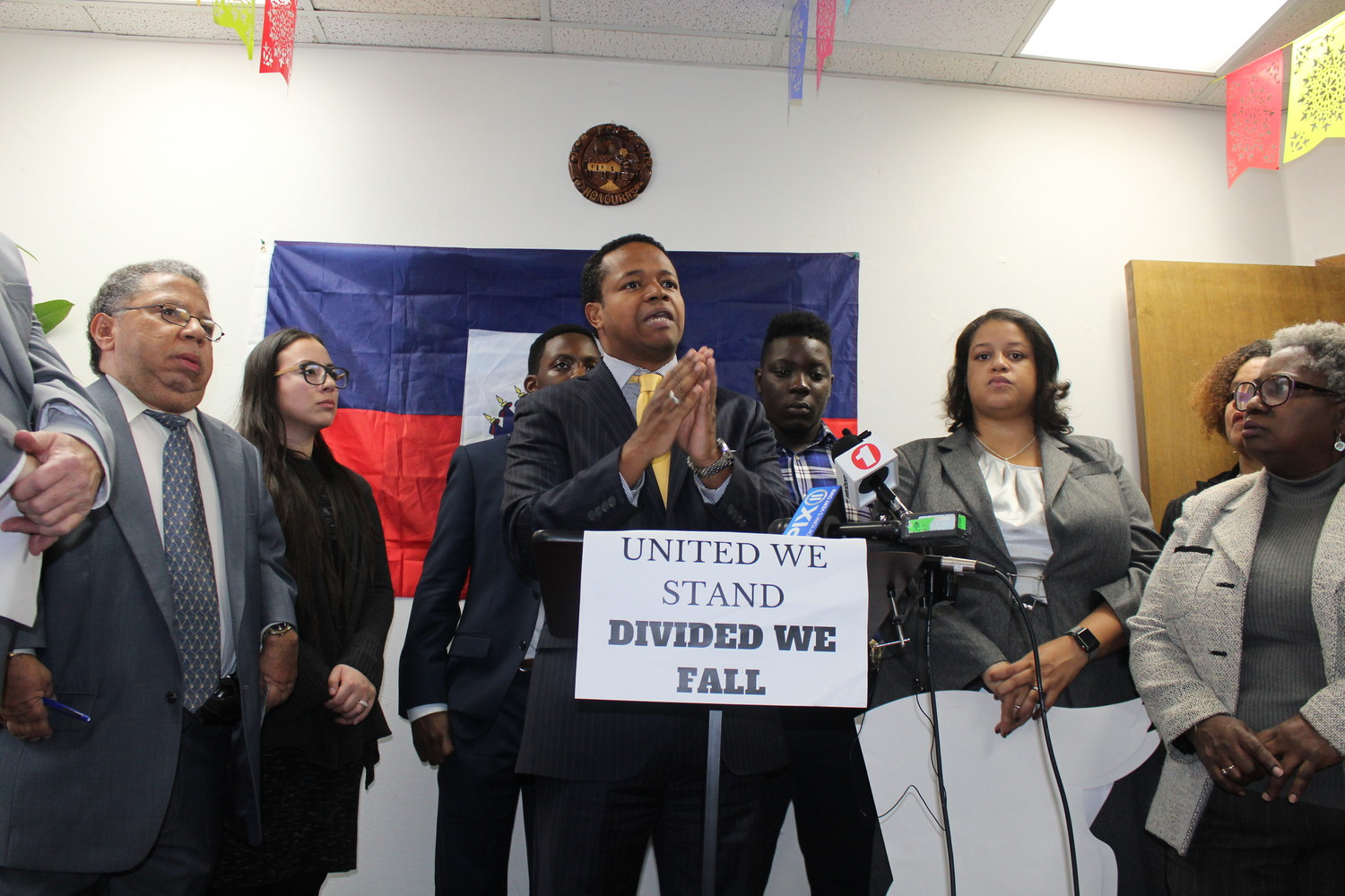Carrié Solages spoke about his request for an inspector general on immigration policy at a news conference on Jan. 12.