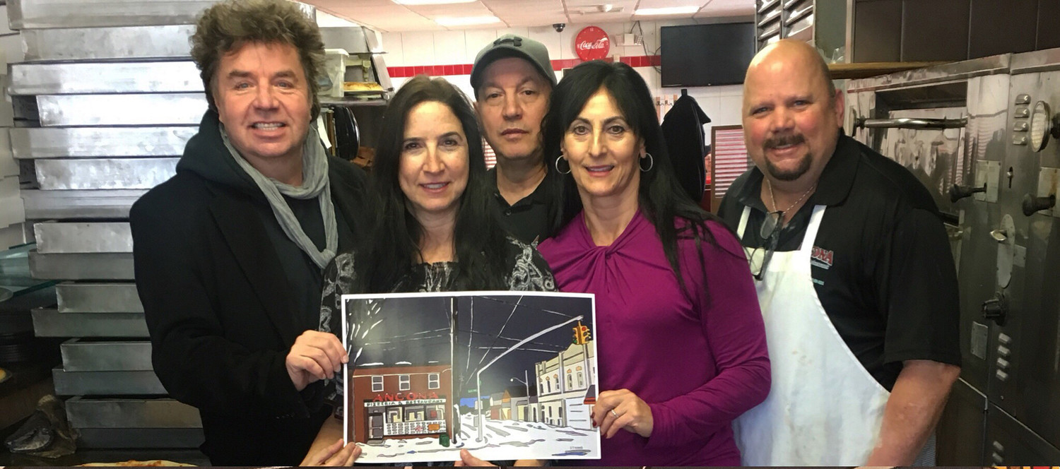 Mike Stanko showed his painting of Ancona Restaurant to Ancona employees Antonina Wilson, Frank Pontrelli, Angela Pontrelli and George Wilson.