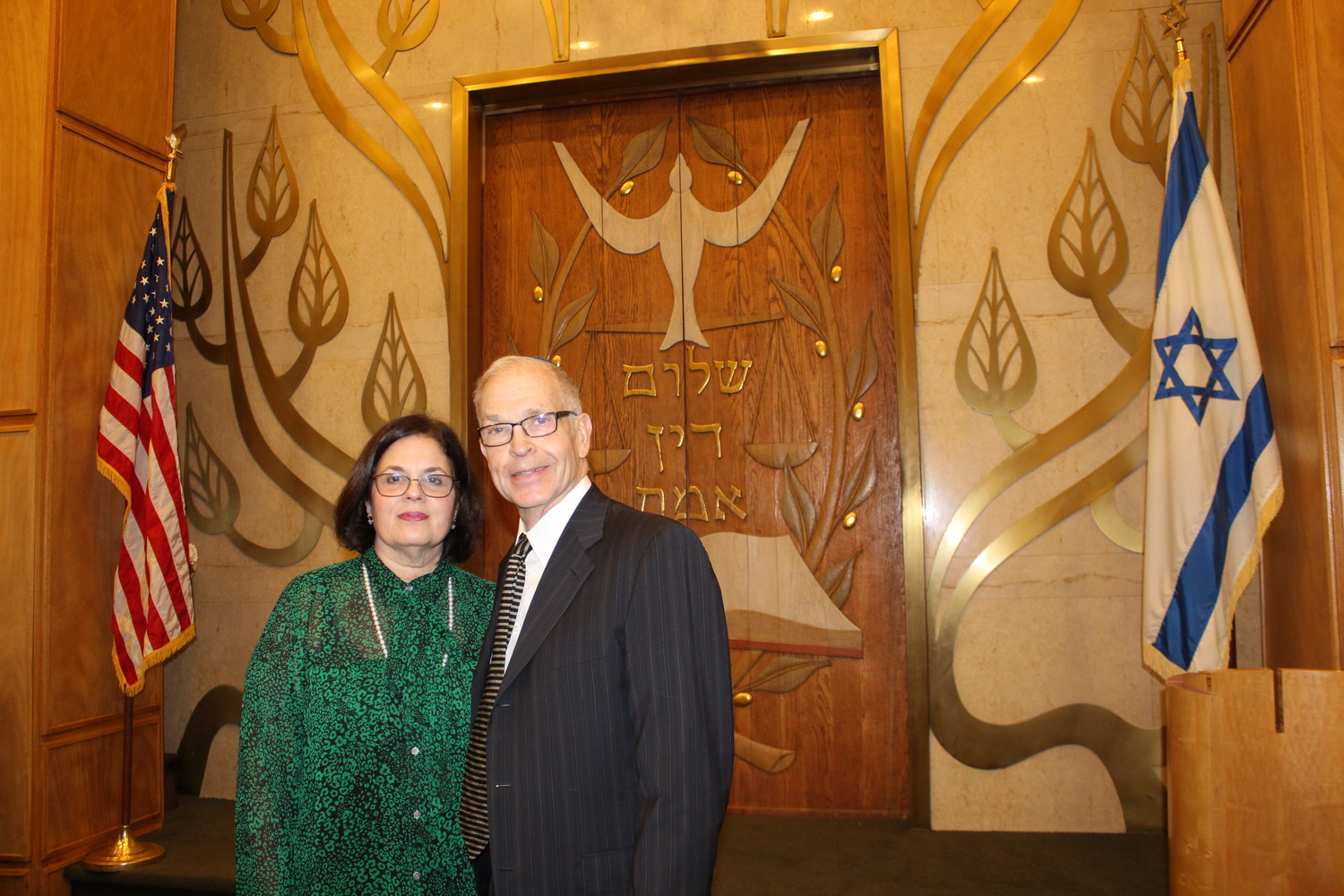 Helene Roses and Ira Levy dedicated the ark at Temple Am Echad last Friday, in memory of five family members who died in a fire in their Lynbrook home on Jan. 14, 1968.