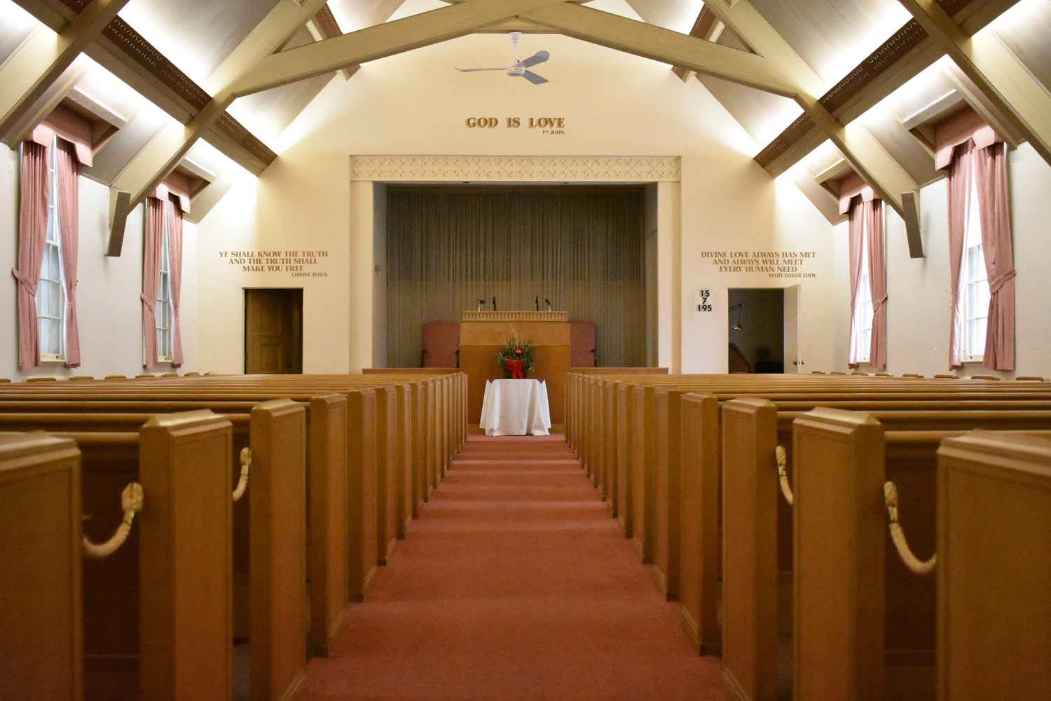 Christian Scientists, who believe that humans are not material, but rather spiritual, gather each week in the large Morris Avenue church.
