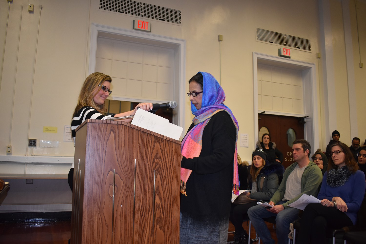 Shahnaz Mallik, right, had circulated petitions to include Eid al Fitr and Eid al Adha on Hewlett-Woodmere School District calendars since last February.