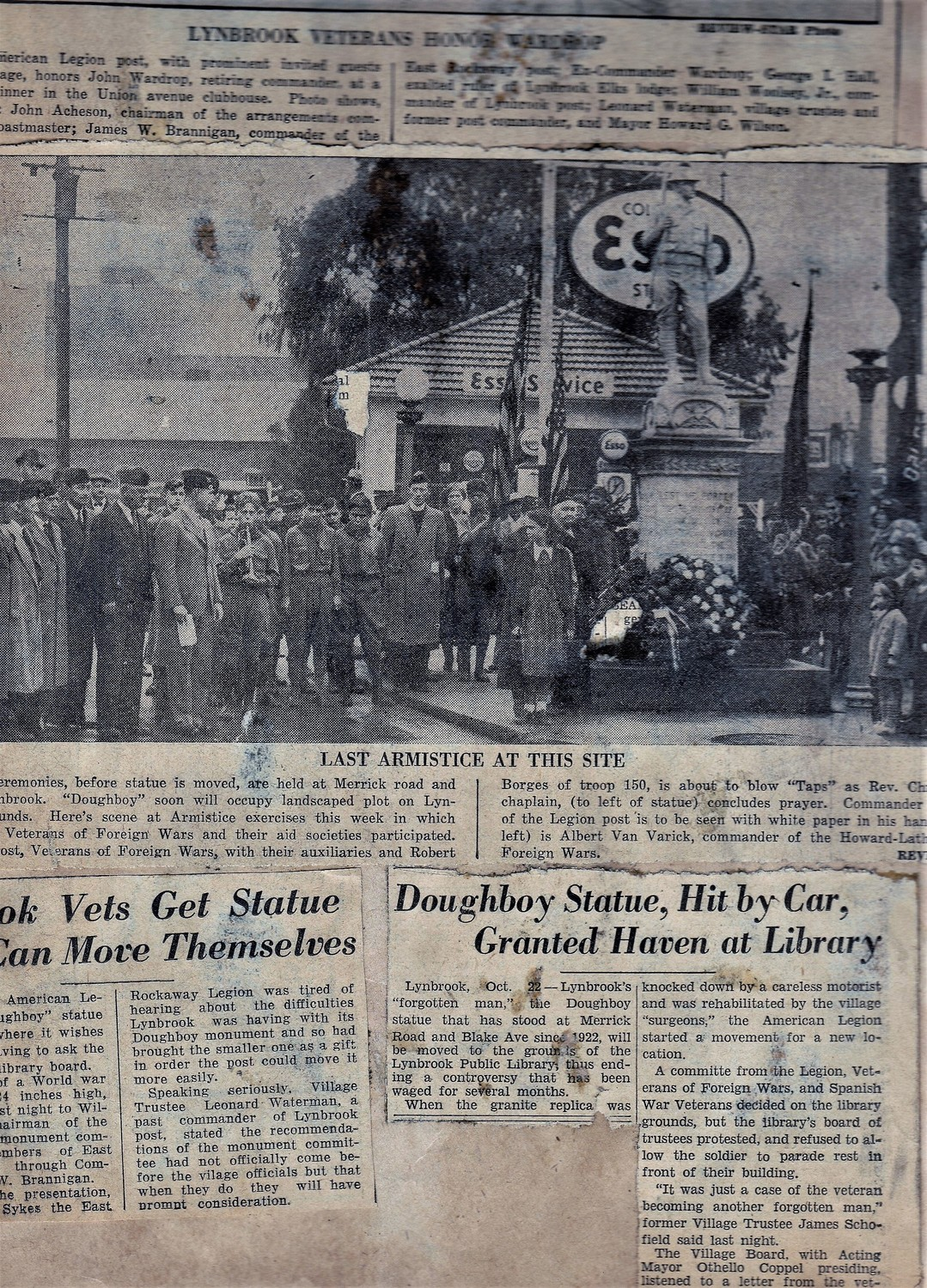 Newspaper clippings from the 1930s show different historical events involving the monument, including American Legion members, other veterans and residents at Armistice Services on Nov. 11, 1936, on Merrick Road and Blake Avenue, just before the Doughboy was moved to the library.