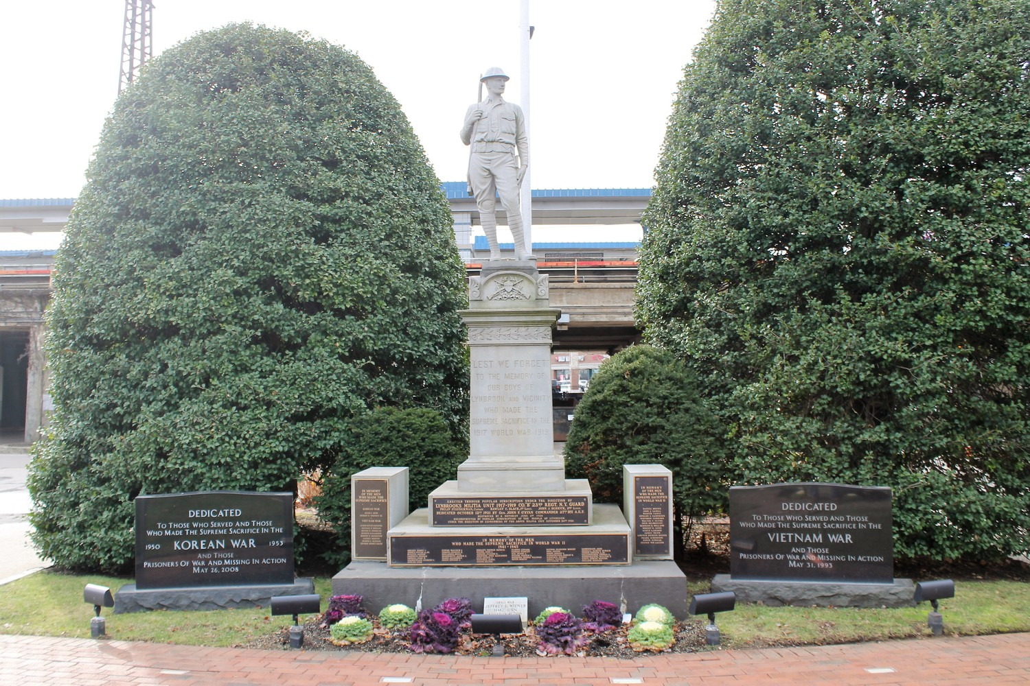 The monument is at the center of Lynbrook's war monuments, dedicated to those residents killed in action in World Wars I and II, and the Korean, Vietnam, and Iraq wars.