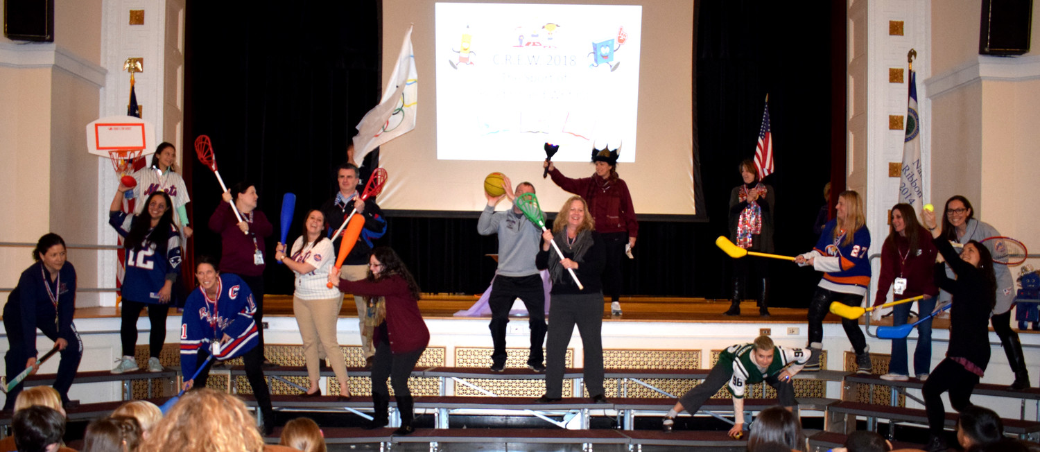 "Glenwood Landing faculty and staff introduced the theme ""The Sport of Reading"" at a school wide assembly, kicking off the beginning of C.R.E.W"
